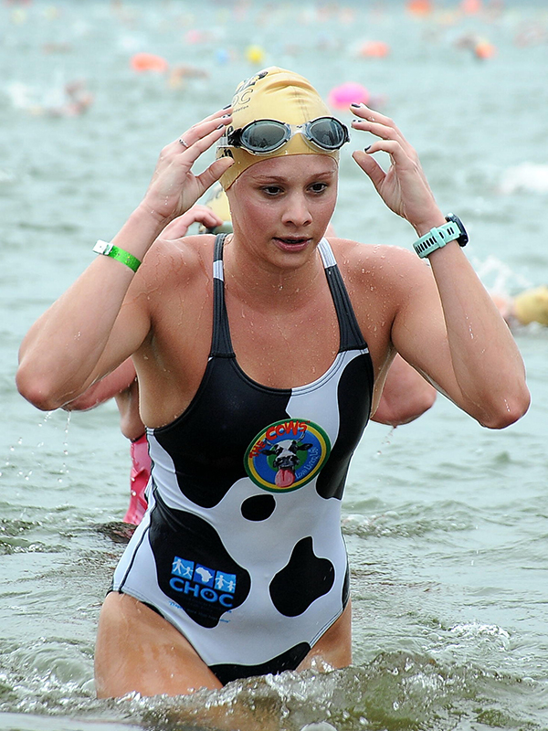 Jade Redman swam in the colours of The Cows as she won the Pope-Ellis Ironman award for the best combined time at the Comrades, FNB Dusi and the aQuellé Midmar Mile. Photo: Jetline Action Photo