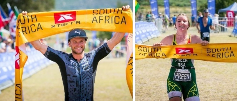 Bradley Weiss and Haley Preen were crowned XTERRA South Africa Champions on Sunday. Photo: Stillwater Sports.