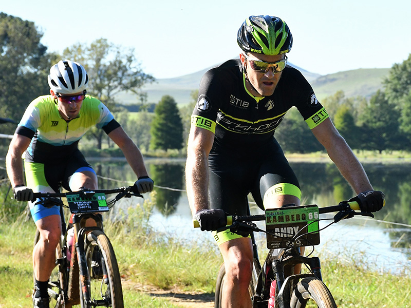 Andrew Hill leads eventual winner of the MTB race Tyronne White on Sunday during the Fuel & Gas Kamberg Classic MTB & Trail Run.
